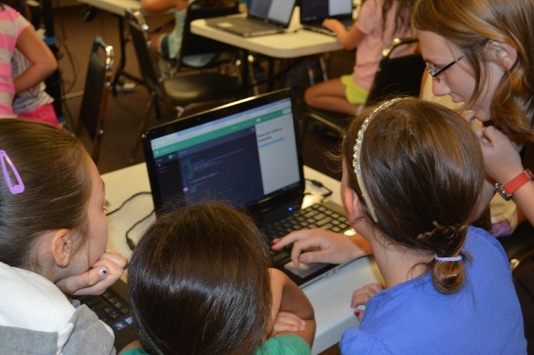 Geek Girl fourth-grade girls learn to build their own websites in HTML using Thimble
