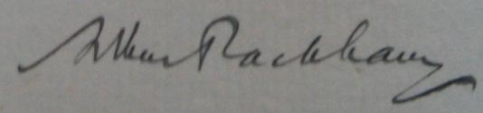 Arthur Rackham's signature in a copy of Undine.