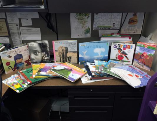 Display of books sent to Maricopa Public Library, 2015 Bookapalooza recipient.