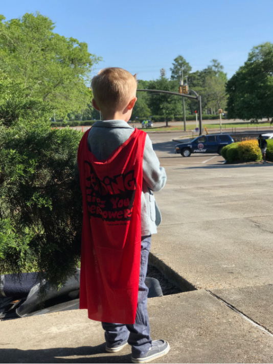 Just another caped fan waiting for his superhero—Dav Pilkey!