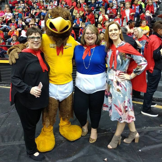 Left to right: Ellen Ruffin, Seymour the Eagle, Sarah Mangrum of the Mississippi Library Association, and Karen Rowell, director of the Fay B. Kaigler Book Festival.