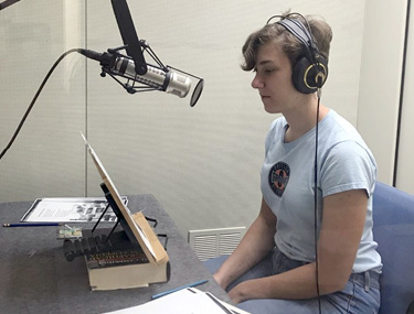 Sam and Isaac (top photo) monitor a recording and Piper (bottom photo) records an audiobook in the recording studio.