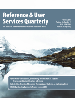 Cover: Reference & User Services Quarterly, Winter 2018